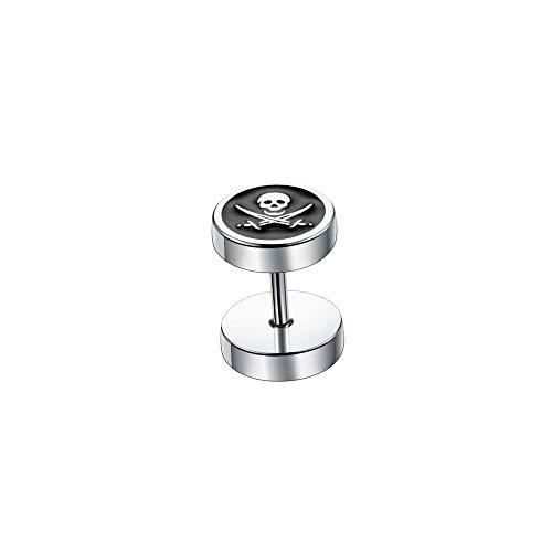 BlackAmazement Falso piercing de dilatación para mujer, diseño de calavera, hueso, pirata, 8 mm, plata y negro, para hombre