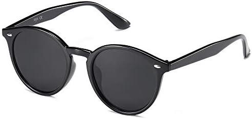 SOJOS Classic Retro Round Polarized Sunglasses UV400 Mirrored Lens SJ2069 ALL ME with Black product image