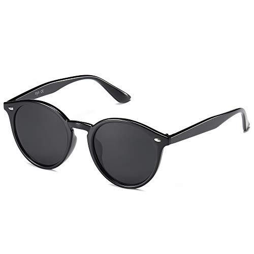 SOJOS Gafas De Sol Clásico Redondo Retro Polarizado UV400 Para Mujer Hombre SJ2069 ALL ME Con Marco Negro/Lente Gris