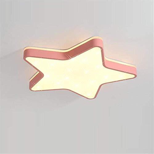 Lámpara de techo LED, ultrafina, estrellas de techo, luz para habitación infantil, personalidad, creativa, LED para jóvenes y niñas, cartoon, habitación de color rosa claro 60 x 5 cm / 48 W