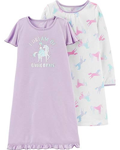 Carter's Girls' 4-14 2-Pack Heart Printed Gowns (8-10, Dream of Unicorns)