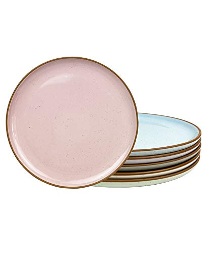 Mora Ceramic Dinner Plates Set of 6, 10 inch Dish Set - Microwave, Oven, and Dishwasher Safe,...