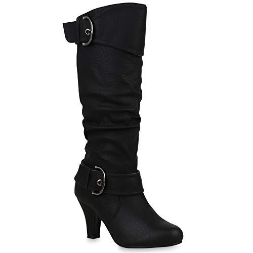 Warm Gefütterte Stiefel Damen Winter Boots Elegante Schnallen Trichterabsatz Wildleder-Optik Booties 42738 Schwarz Schnallen 40 Flandell