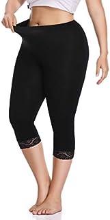 Women's Plus Size Capri Cropped Leggings Stretch Lace...
