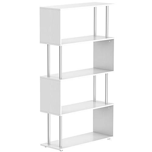 homcom Libreria 4 Ripiani Moderna Bianca da Terra Legno 80 × 30 × 145cm