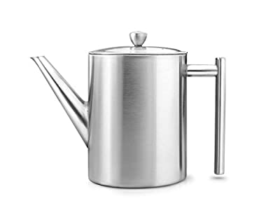 bredemeijer Cylindre Double Walled Teapot, 1.2-Liter, Stainless Steel Satin Finish