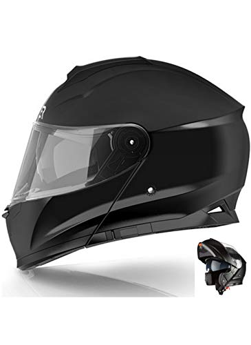 CRUIZER - Casco de moto modular integral negro mate con doble visera retráctil, interior extraíble y lavable, cierre micrométrico de correa M negro mate