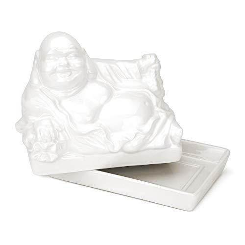 CKB Ltd® Butterdose mit Deckel, Buddha-Dekoration, Vintage-Design, cooles Tablett mit Deckel 17 x 10 x 14cm weiß