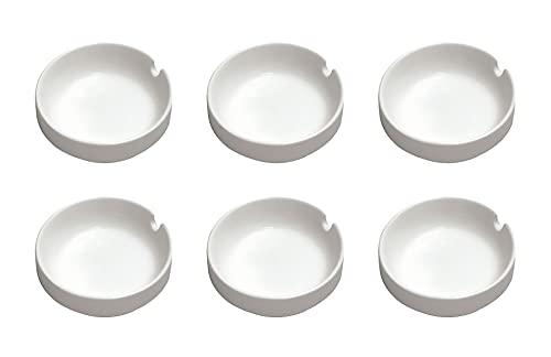 set composto da nr 6 portacenere di forma tonda diametro cm 8 in porcellana bianca