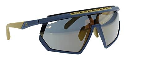 adidas Gafas de sol SP0029-H Pure Blue/Khaki, lente de espejo dorado con contraste gris