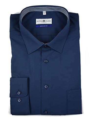 Royal Class Herren Hemd Langarm Businesshemd Bügelfrei Baumwolle Blau 46 48 49 (49)