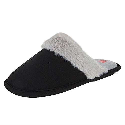 Hanes Women's Superior Comfort Cotton Slip on Scuff Slipper with Memory Foam and Anti-Skid Sole, Black, Medium