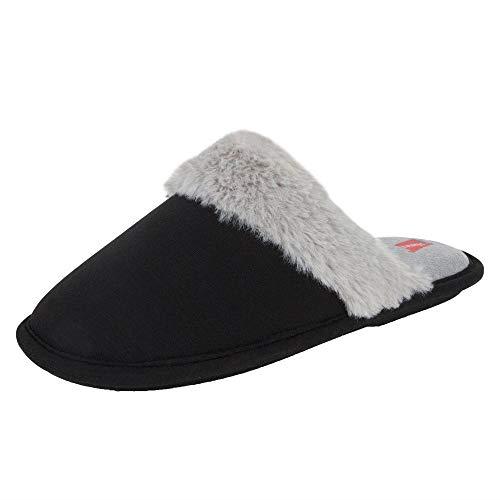 Hanes Women's Superior Comfort Cotton Slip on Scuff Slipper with Memory Foam and Anti-Skid Sole, Black, Large