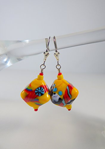 Yellow and Multi-color Bright Crystal Shaped Lampwork Bead Earrings with Sterling Silver Leverback Ear Wires