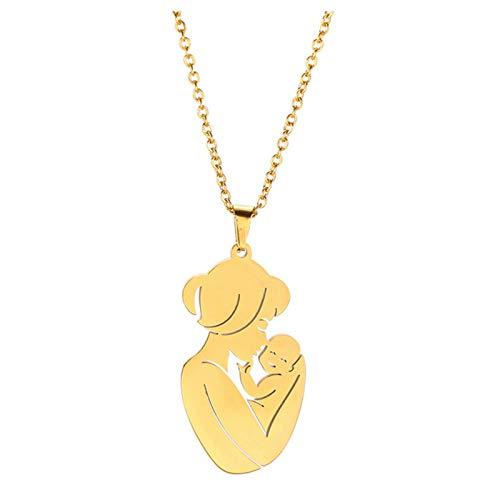 VELESAY Dia de la Madre Acero Collar Colgantes para Mujeres Regalo Madre Cumpleaños Regalos para Mama Regalos Mamas Primerizas Collares Mujer Bisuteria Familia Collar