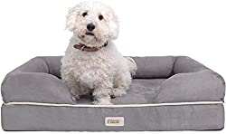 Square cushioned dog bed for chewers