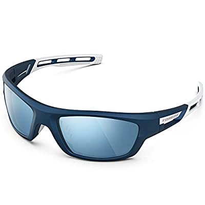 TOREGE Polarized Sports Sunglasses for Man Women Cycling Running Fishing Golf TR90 Unbreakable Frame TR07 Steath Man (Matte Blue&White&Blue Lens)