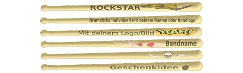 Drumsticks Gravur (5A) individuell mit deinem Logo/Bild | Das optimale Geschenk für Drummer, Musiker, Schlagzeuger