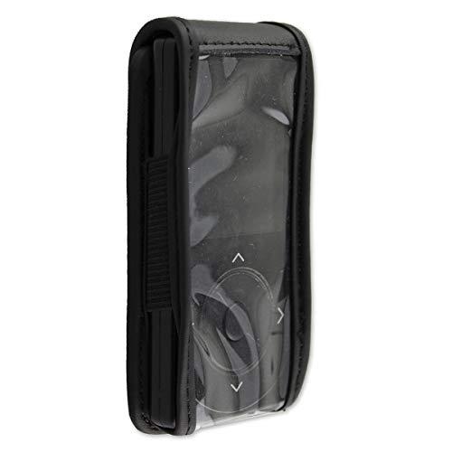 caseroxx Hülle Ledertasche mit Gürtelclip für Dexcom G4 / G5 aus Echtleder, Tasche mit Gürtelclip und Sichtfenster in schwarz