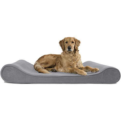 Furhaven Pet Dog Bed - Orthopedic Micro Velvet Ergonomic Luxe Lounger Cradle Mattress Contour Pet Bed with Removable Cover for Dogs and Cats, Gray, Jumbo
