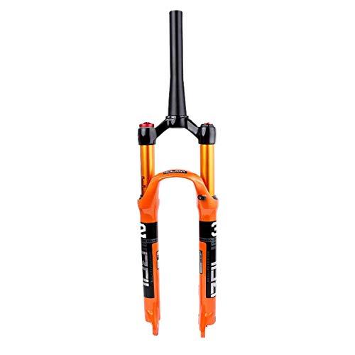TYXTYX FKA019 Horquilla Delantera de Aire para Bicicleta de montaña 26/27.5/29 Pulgadas, Horquilla de suspensión MTB, aleación de magnesio, 120 mm de Recorrido, Naranja