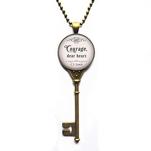 Collar de clave con cita de narnia, con frase en inglés 'Courage, Dear Heart, C.S. Lewis', con cita literaria inspiradora, N332
