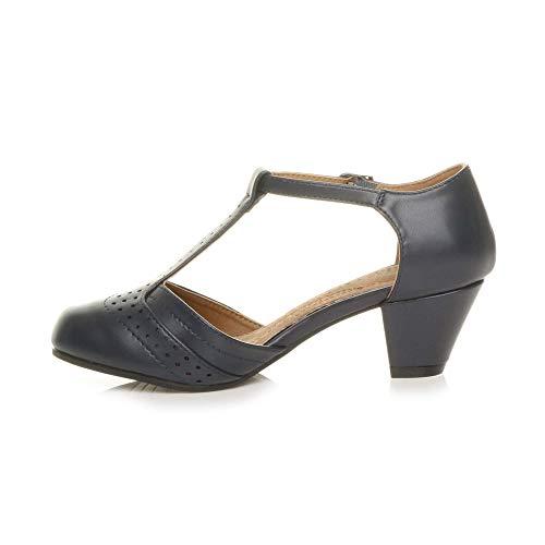 Damen Mitte Blockabsatz T-Riemen Ausgeschnitten Brogues Pumps Sandalen Größe 7 40 - 4