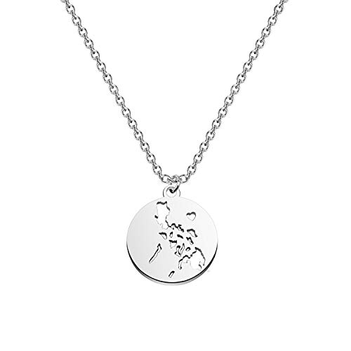 bobauna Philippine Islands Map Pendant Circle Hollow Necklace Philippine Pride Jewelry Map Geography Gift For Filipino (Philippine map necklace)