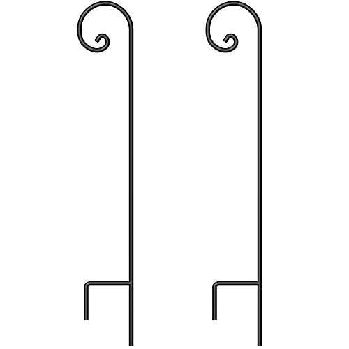 BEAU JARDIN Shepherd Hook 48 Inch 2 Pack 2/5 Inch Thick Heavy Duty Rust Resistant Garden Outdoor Hanging Plants Basket Hanger Pathway Light Solar Lantern Mason Jar Wind Chimes Wedding Black
