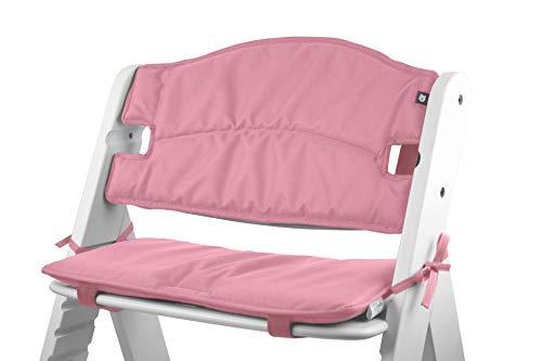 Tinydo Hochstuhl-Sitzkissen+ optimal für Hauck Alpha+ und ähnliche Treppenhochstühle - 2teilg. Set mit Memory-Schaum-Dämpfung Sitzverkleinerer-Auflage für Babystühle rutschfest, pflegeleicht (Rosa)