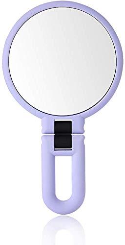 GCX- Maquillage Miroir Beauté Maquillage Double Face Miroir Loupe Portable Princesse Miroir Pliant Miroir Miroir poignée La Mode (Color : Purple)