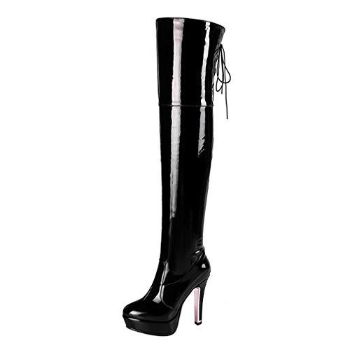 LOVOUO Mode Cuissarde Botte Vernis Haute Femme Plateforme Lacets Talon Carré Bloc Haut Sexy Chunky Thigh High Heels Platform Lace Up Boots Long Chaussure Fermeture Eclair Hiver(Noir,39)