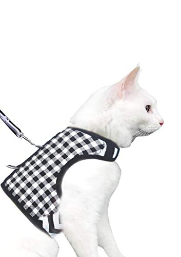 Yizhi Miaow Cat Harness and Leash for Walking Escape Proof Large, Adjustable Cat Walking Vest Harness, Cat Jacket Black Plaid