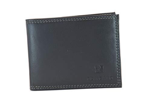 EDEN RONCATO Portefeuille pour homme en cuir véritable noir avec porte-monnaie et rabat porte-cartes