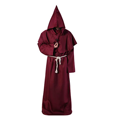 Men Hooded Robe Cloak Knight Fancy Cool Cosplay Costume Medieval Hooded Monk Renaissance Priest Robe...