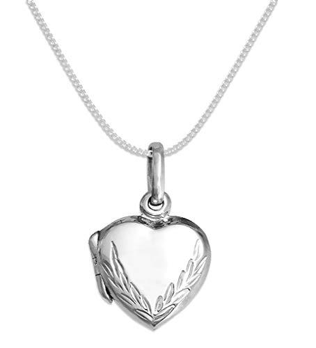Pendentif cœur qui s'ouvre en argent sterling 13mm sur chaîne en argent 38cm motif gravé pour enfant