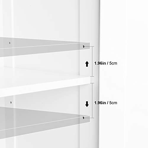 HOMECHO Bathroom Floor Storage Cabinet, Wood Linen Cabinet with Doors and Adjustable Shelf, Kitchen Cupboard, Free Standing Organizer for Living Room Entryway Home Office, White