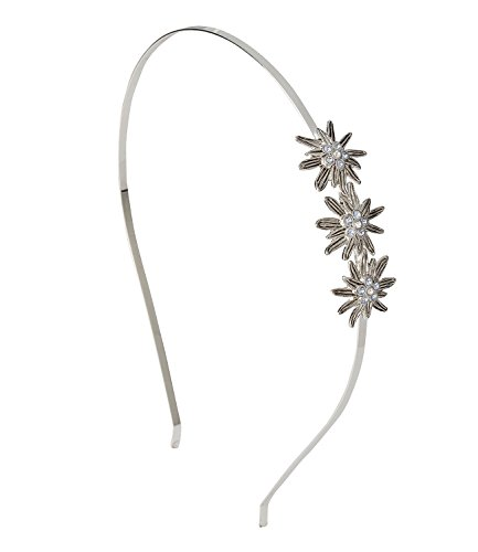 SIX Haarreif mit Edelweiß-Blüten, silberfarbener Oktoberfest-Haarschmuck mit Strass-Blumen, passend zum Dirndl, Karneval (315-492)