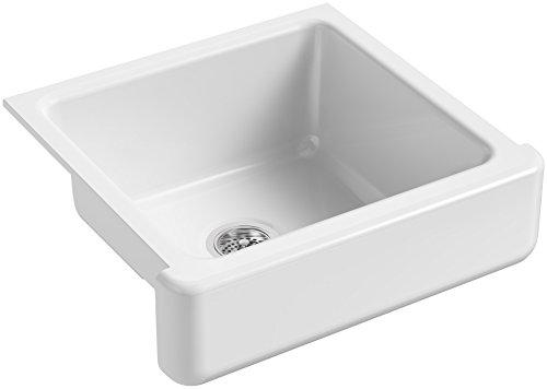 KOHLER K-5664-0 Whitehaven Farmhouse Self-Trimming Farmhouse Undermount Single-Bowl Kitchen Sink with Short Apron, 23-1/2 x 21-9/16 x 9-5/8-Inch, White