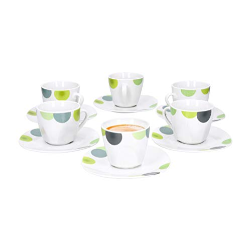 Van Well | 12-TLG. Espressotassen-Set Rondo | 6 Porzellan-Tassen 80 ml + 6 Unterteller | abstrakte Retro-Kreise grün-gelb | edles Porzellan-Geschirr