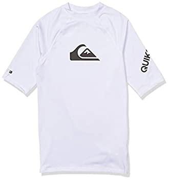Quiksilver Boys  Big Time Short Sleeve Youth Rashguard Surf Shirt White L/14