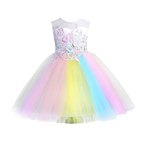 REALIKE Mädchen Baby Farbe Regenbogen Mini Kurz Kleid Elegant Ärmellos Schulterfrei Prinzessin Floral Kleid Sommerkleid Cocktailkleid Festlich BabybekleidungAbendkleid Partykleid
