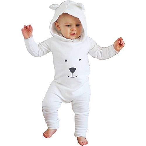 DAY8 Vêtement Bébé Garçon Naissance 0-24 Mois Pyjama Bébé Garçon Hiver 2018 Combinaison Bébé Garçon Manche Longue Cartoon Body Bébé Fille Capuche Grenouillères Barboteuses (70(6-12 Mois), Blanc)