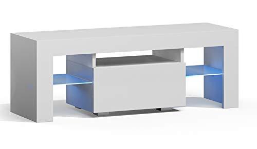 RODRIGO TV Lowboard 110 cm Fernsehschrank TV-Schrank Hochglanz inkl. LED Farbwechsel Beleuchtung (110 x 45 x 35 cm, Weiß Matt/Weiß Hochglanz)