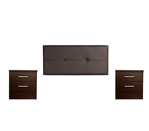 DHOME Cabecero + Dos mesitas de Noche, Conjunto Cabezal para Cama mas 2 mesillas, Pack Dormitorio en Diferentes tonalidades y Medidas (Botones 145cm + 2 Cajones, Marrón Oscuro)