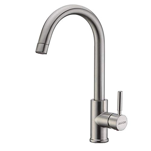 ALTON LEO13040 304-Grade Stainless Steel Faucet Hot and Cold Kitchen Sink Mixer with 360 Swivel Spout (Large, Brushed Nickel)