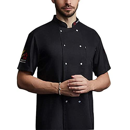Unisex Chef Coat Jacket Cooking Uniform Short Sleeves Lightweight Button