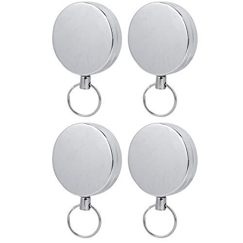 Vbest life 4PCS 5CM Ganzmetall Easy Pull Button Hochziehbarer Einziehbarer Schlüsselbund Anti-Lost Anti Theft Key Chain
