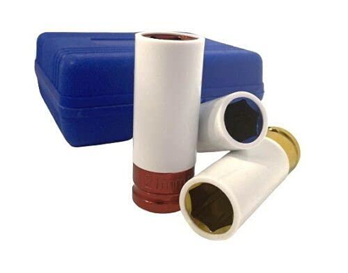 Schlagschrauber Nüsse Kraftschoneinsätze 3tlg (17/19/21mm) inkl. Transportbox, Schonnüsse für Alufelgen Drehmomentschlüssel Radmutter Felgenschutz Werkzeug Set