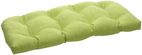 Best Pillow Perfect Outdoor/Indoor Baja Linen Lime Tufted Loveseat Cushion, 44